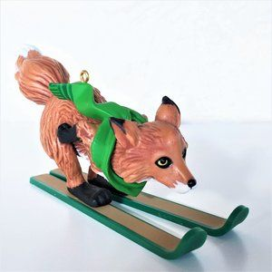 HALLMARK * Collectors * Skiing Fox Christmas Ornam